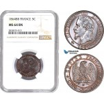 AD014-R, France, Napoleon III, 5 Centimes 1864-BB, Strasbourg, NGC MS64BN, Pop 1/1