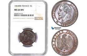 AD014-R, France, Napoleon III, 5 Centimes 1864-BB, Strasbourg, NGC MS64BN, Pop 1/1