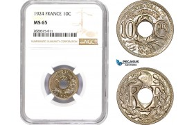 AD015-R, France, Third Republic, 10 Centimes 1924, Paris, NGC MS65, Pop 2/0
