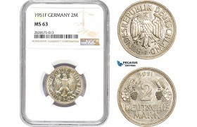 AD017-R, Germany, 2 Mark 1953-F, NGC MS63