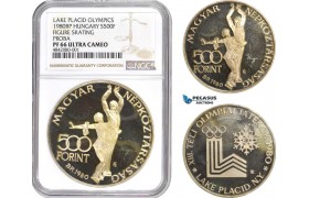 "AD019, Hungary, ""Lake Placid Olympics"" Pattern 500 Forint 1980-BP, Budapest, Silver, NGC PF66 Ultra Cameo, Pop 1/0"