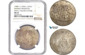 AD020, India, Madras Presidency, 1/2 Pagoda ND (1808-11) Silver, NGC MS63
