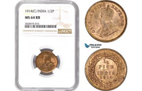 AD021-R, India (British) George V, 1/2 Pice 1914 (C) Calcutta, NGC MS64RB
