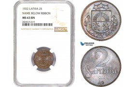 AD023-R, Latvia, 2 Santimi 1922, NGC MS63BN