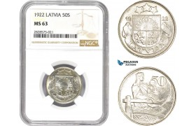 AD024-R, Latvia, 50 Santimi 1922, NGC MS63