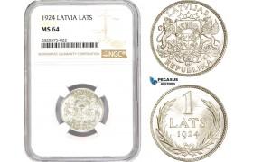 AD025-R, Latvia, 1 Lats 1924, Silver, NGC MS64