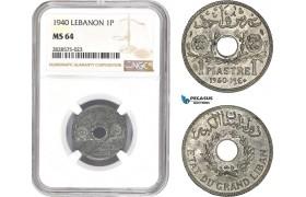 AD026-R, Lebanon, 1 Piastre 1940, NGC MS64
