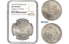 AD028-R, Mexico, 8 Reales 1891 Go RS, Guanajuato, Silver, NGC UNC Det.