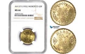 AD029-R, Morocco, Muhammad V, 20 Francs 1952, NGC MS66, Pop 3/1