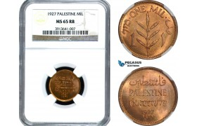 AD030, Palestine, 1 Mil 1927, London, NGC MS65RB