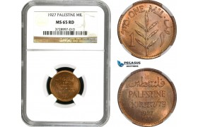 AD031, Palestine, 1 Mil 1927, London, NGC MS65RD
