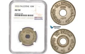 AD032-R, Palestine, 10 Mils 1933, London, NGC AU50