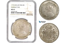 "AD034, Peru, Charles III, 8 Reales 1772 LIMA JM,  Silver ""Portrait Type"" NGC MS63, Pop 1/0, Very Rare!"