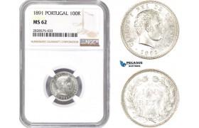 AD039-R, Portugal, Carlos I, 100 Reis 1891, Lisbon, Silver, NGC MS62