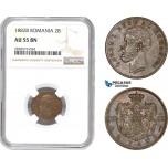 AD040-R, Romania, Carol I, 2 Bani 1882-B, Bucharest, NGC AU55BN