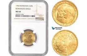 "AD041, Romania, Mihai I, 20 Lei 1944 ""Ardealul Nostru"" Gold, NGC MS64"