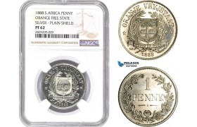 "AD045, South Africa, Orange Free State, Pattern Penny 1888, Berlin, Silver ""Plain Shield"" NGC PF62, Pop 1/0, Very Rare!"