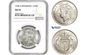 AD046-R, Southern Rhodesia, George VI, 1/2 Crown 1944, London, Silver, NGC AU53