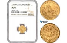 AD049, Ottoman Empire, Turkey, Mehmed Vahdeddin VI, 25 Kurush AH1336/1, Qustantiniya, Gold, NGC MS65, Pop 1/0