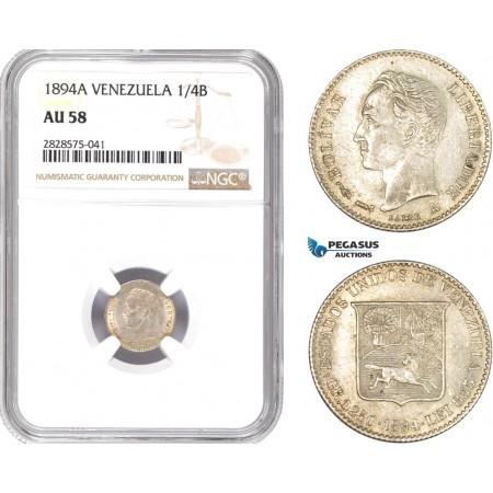 AD050-R, Venezuela, 1/4 Bolivar 1894-A, Paris, Silver, NGC AU58