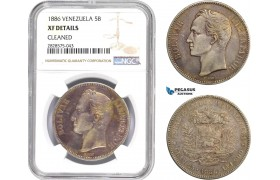 AD051-R, Venezuela, 5 Bolivares 1886, Caracas, Silver, NGC XF Details