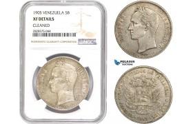 AD052-R, Venezuela, 5 Bolivares 1905, Paris, Silver, NGC XF Details