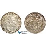 AD053, Austria, Franz Joseph, 1 Florin 1862-A, Vienna, Silver, Old cleaning, AU-UNC
