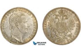 AD054, Austria, Franz Joseph, 1 Vereinsthaler (Taler) 1860-A, Vienna, Silver, aUNC