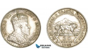AD055, British East Africa, Edward VII, 25 Cents 1906, Silver, Lightly cleaned AU