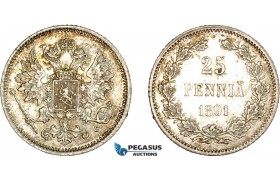 AD059, Finland (under Russia) Alexander III, 25 Penniä 1891-L, Silver, Toned AU