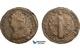 AD060, France, Louis XVI, 2 Sols 1792-MA, Marseilles, (R3) Extremely Rare! VF