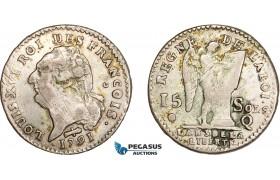 AD061, France, Louis XVI, 15 Sols 1791-Q, Perpignan, Silver, aVF, Extremely Rare!
