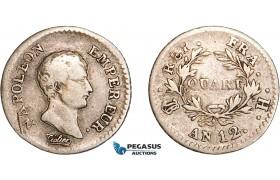 AD062, France, Napoleon, 1/4 Franc AN 12-H, La Rochelle, Silver, aVF