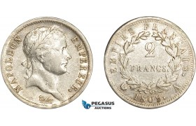 AD063, France, Napoleon, 2 Francs 1809-A, Paris, Silver, Cleaned VF