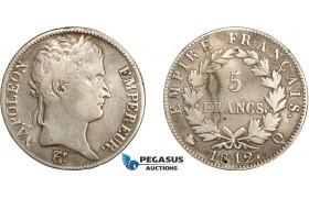 AD064, France, Napoleon, 5 Francs 1812-Q, Perpignan, Silver, F
