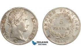 AD065, France, Napoleon, 5 Francs 1813-A, Paris, Silver, Cleaned AU