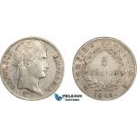 AD066, France, Napoleon, 5 Francs 1813-MA, Marseilles, Silver, XF