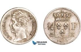 AD067, France, Charles X, 1/4 Franc 1829-K, Bordeaux, Silver, XF