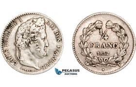 AD068, France, Louis Philippe I, 1/4 Franc 1832-T, Nantes, Silver, VF, Rare!
