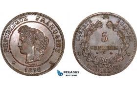AD069, France, Third Republic, 5 Centimes 1876-A, Paris, aUNC