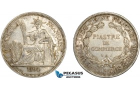 AD071, French Indo-China, Piastre 1894-A, Paris, Silver, Cleaned XF-AU