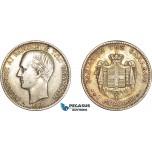 AD073, Greece, George I, 1 Drachma 1868-A, Paris, Silver, Toned XF-AU