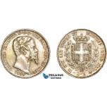AD074, Italy, Emilia, Vitt. Emanuele II, 1 Lira 1859-M, Milan, Silver, Toned XF-AU