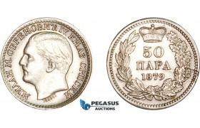 AD076, Serbia, Milan I. Obrenovic, 50 Para 1879, Vienna, Silver, Edge Flaw, aUNC
