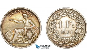 AD080, Switzerland, 1 Franc 1861-B, Bern, Silver, Toned XF