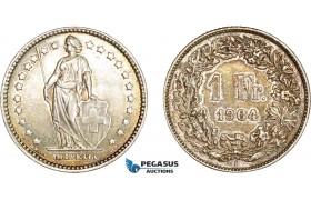 AD081, Switzerland, 1 Franc 1904-B, Bern, Silver, Toned AU, Rare!