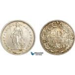 AD082, Switzerland, 2 Francs 1910-B, Bern, Silver, Toned AU