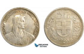 AD083, Switzerland, 5 Francs 1923-B, Bern, Silver, Toned XF