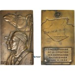 AD085, Algeria & France, Bronze Plaque Medal 1952 (60x100mm, 308.3g) by Drago, Saharan Companies, French Army, RR!!