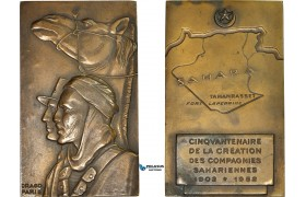 AD085, Algeria & France, Bronze Plaque Medal 1952 (60x100mm, 308.3g) by Drago, Saharan Companies, French Army, RR!!